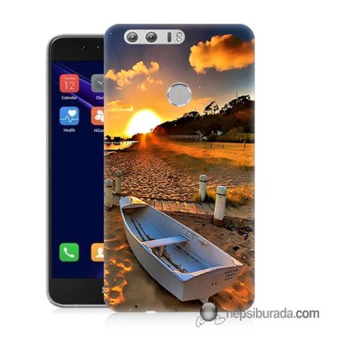Teknomeg Huawei Honor 8 Kapak Kılıf Kumsal Manzara Baskılı Silikon