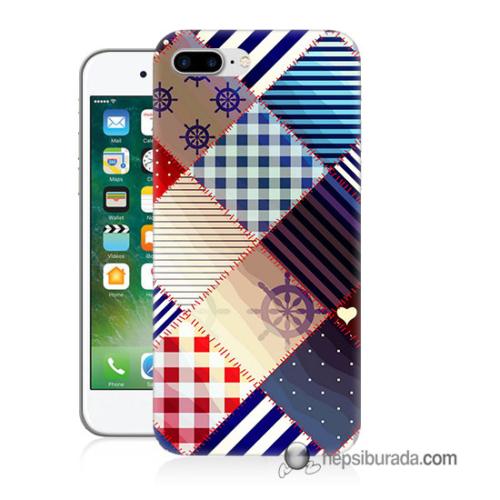 Teknomeg iPhone 7 Plus Kapak Kılıf Patchwork Baskılı Silikon