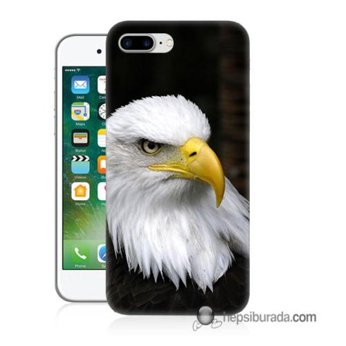 Teknomeg iPhone 7 Plus Kapak Kılıf Siyah Kartal Baskılı Silikon