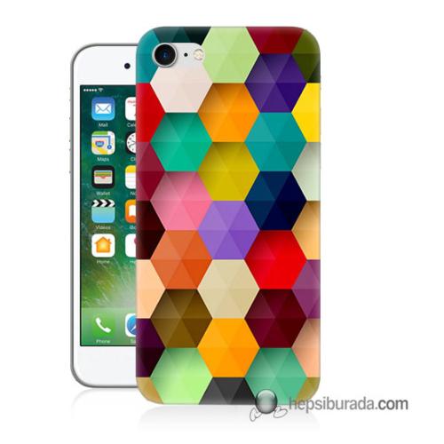 Teknomeg iPhone 7 Kapak Kılıf Renkli Petek Baskılı Silikon