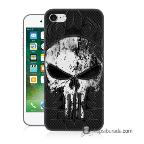 Teknomeg iPhone 7 Kapak Kılıf Punnisher Kurukafa Baskılı Silikon