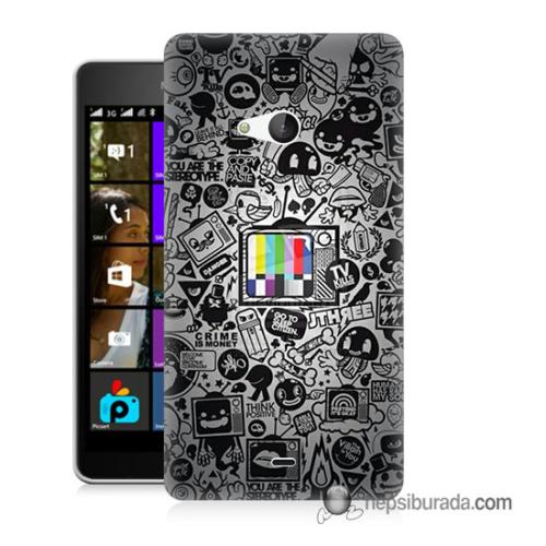 Teknomeg Microsoft Lumia 540 Kapak Kılıf Renkli Tv Baskılı Silikon
