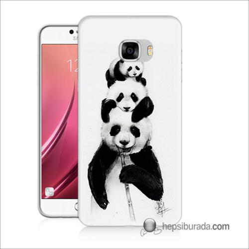 Teknomeg Samsug Galaxy C5 Kapak Kılıf Panda Ailesi Baskılı Silikon