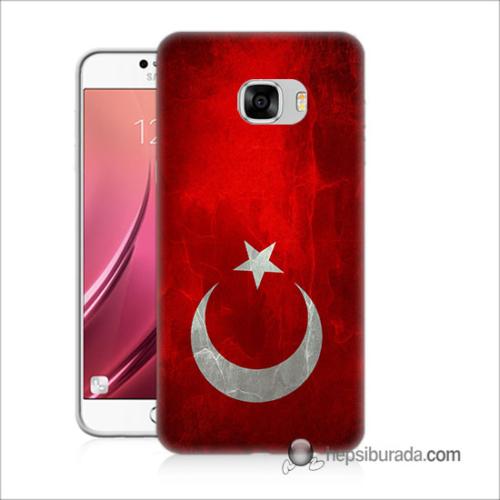Teknomeg Samsug Galaxy C5 Kılıf Kapak Türkiye Bayrağı Baskılı Silikon