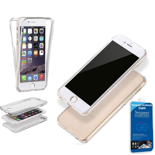 Teleplus İphone 6 360 Ön & Arka Full Korumalı Silikon Kılıf + Kırılmaz Cam