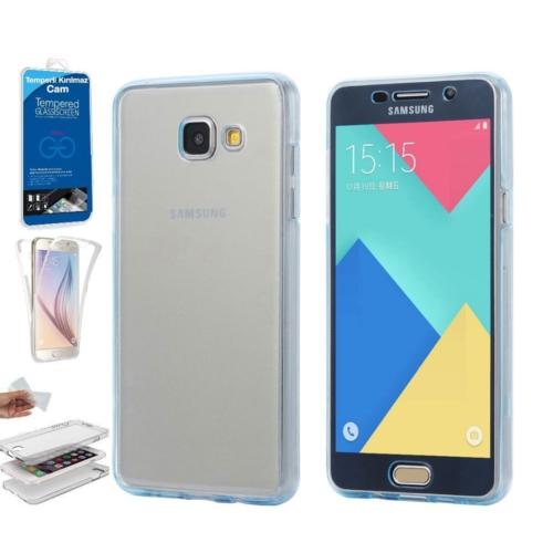 Teleplus Samsung Galaxy A5 2016 Ön & Arka 360 Full Korumalı Silikon Kılıf + Kırılmaz Cam