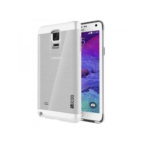 Slicoo Samsung N9100 Galaxy Note 4 Metalik Kenarlı Şeffaf Silikon Kılıf