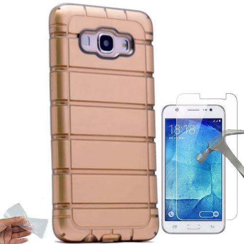 Teleplus Samsung Galaxy J5 2016 Lazer Çizgili Silikon Kılıf + Kırılmaz Cam