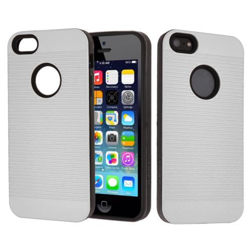CaseUp Apple iPhone 5S Kılıf Çift Katman Korumalı Çizgili Kırılmaz Cam