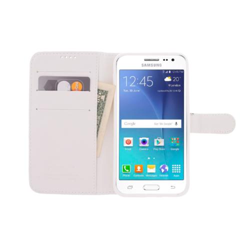 CaseUp Samsung Galaxy J2 Kılıf Cüzdanlı Suni Deri Kırılmaz Cam
