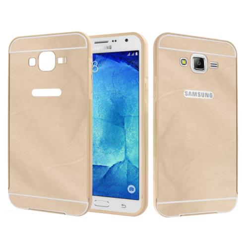 CaseUp Samsung Galaxy J7 Kılıf Metal Çerçeveli Aynalı Kırılmaz Cam