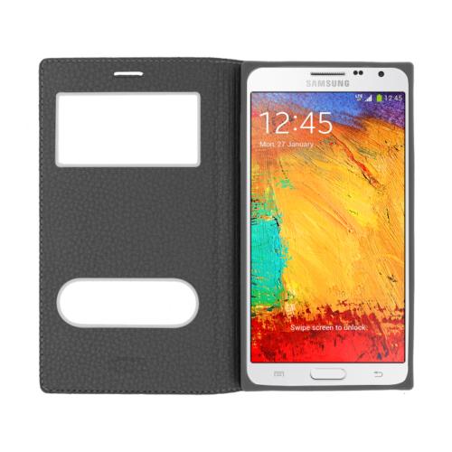 CaseUp Samsung Galaxy Note 3 Kılıf Kapaklı Çift Pencereli Kırılmaz Cam