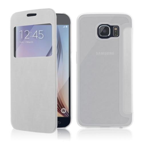 CaseUp View Cover Delux kapaklı Samsung Galaxy S6 kılıf Kırılmaz Cam