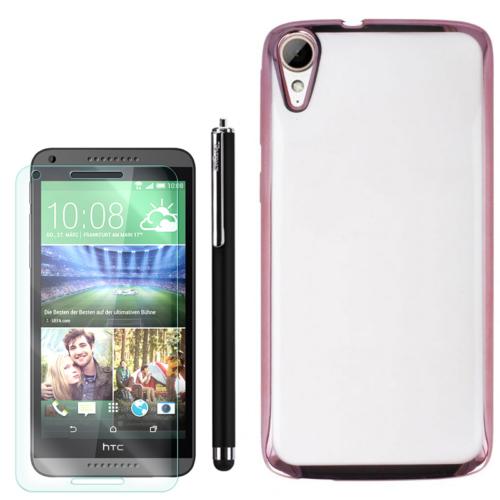 Gpack Htc Desire 828 Kılıf Lazer Silikon + Kalem + Kırılmaz Cam