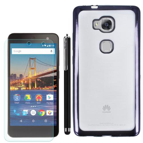Gpack Huawei Gr5 Kılıf Lazer Silikon +Kalem+ Kırılmaz Cam