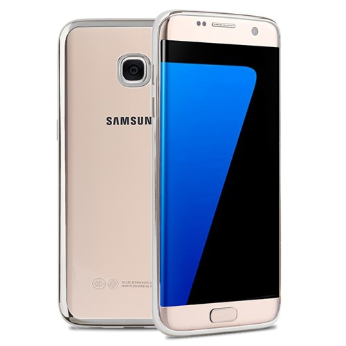 Case 4U Samsung Galaxy S7 Edge Lazer Kaplama Silikon Kılıf Gümüş