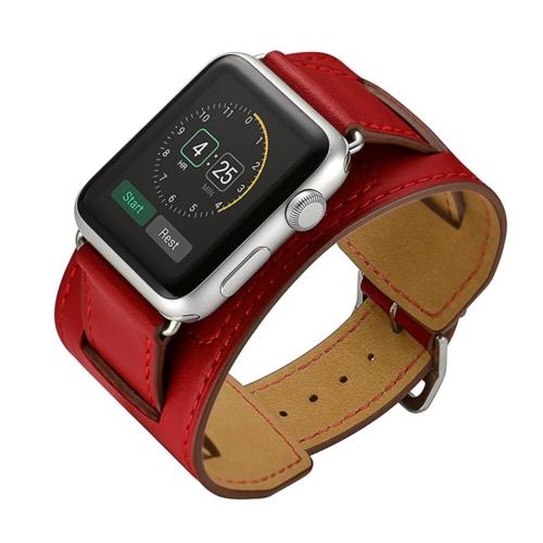 Case 4U Apple Watch Çift Tur Deri Kayış Kırmızı (38mm)