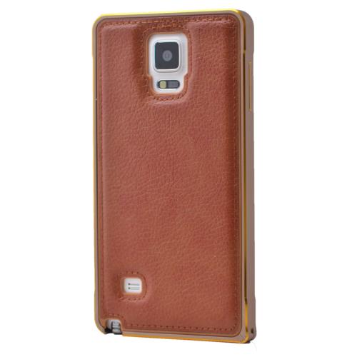 Case 4U Samsung Galaxy Note 4 Deri Arka Kapak Metal Çerçeveli Kahverengi