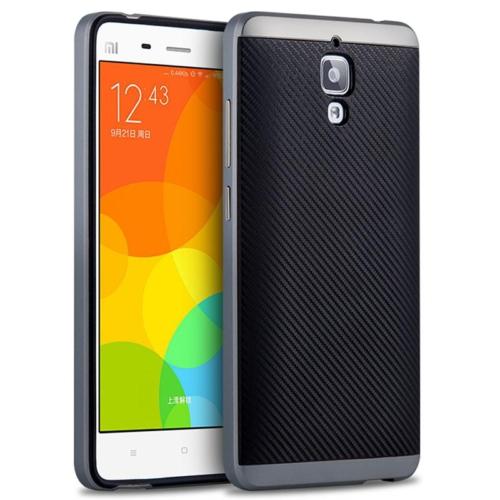 Case 4U Xiaomi Mi 4 Hybrid Korumalı İnce Arka Kapak Siyah (Cam Ekran Koruyucu Hediyeli)