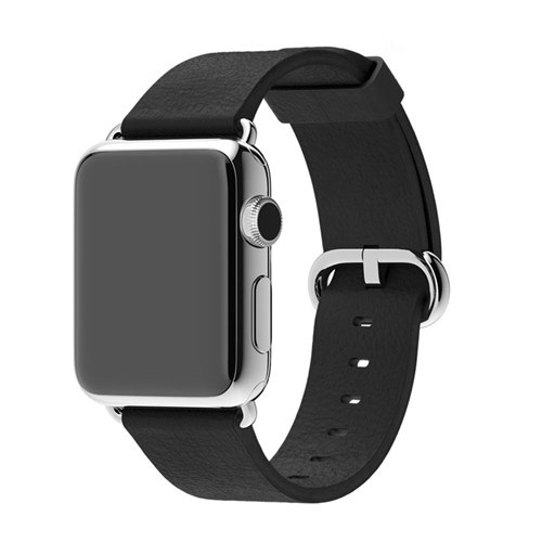 Case 4U Apple Watch 42 mm Klasik Tokalı Siyah Kayış