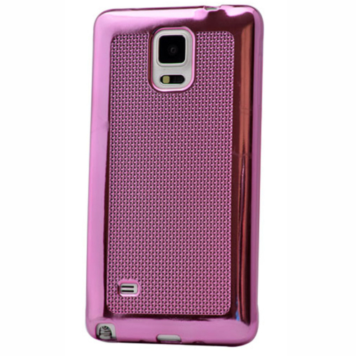 Case 4U Samsung Galaxy Note 4 Hasır Desenli Ultra İnce Silikon Kılıf Pembe