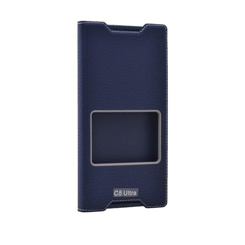 Case 4U Sony Xperia C5 Ultra Pencereli Kapaklı Kılıf Lacivert