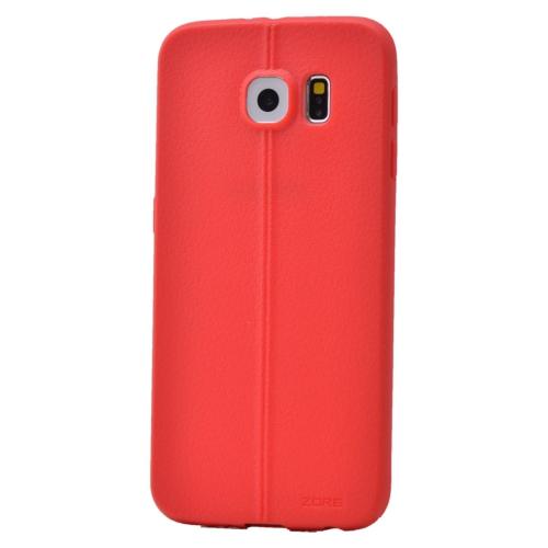 Case 4U Samsung Galaxy S6 Desenli Silikon Kılıf Kırmızı