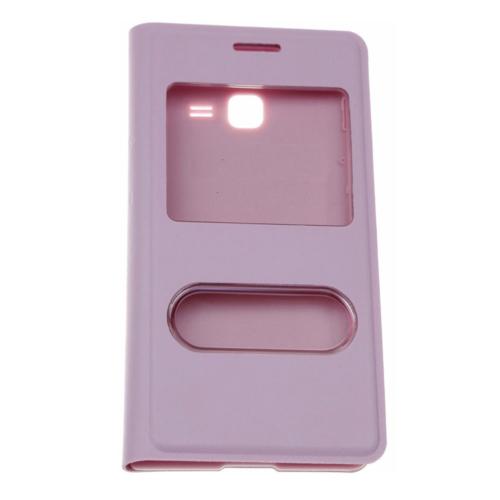 Case 4U Samsung S7390 Trend Lite Pencereli Flip Cover Pembe