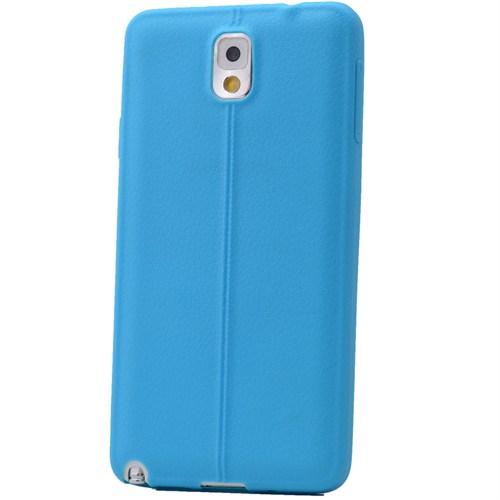 Lopard Samsung Galaxy Note 3 Kılıf Ribbon İnce Silikon Arka Kapak Mavi