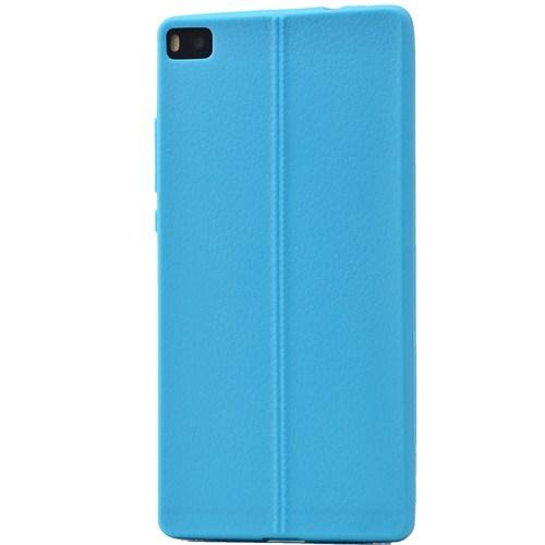 Lopard Huawei P8 Lite Kılıf Ribbon İnce Silikon Arka Kapak Mavi