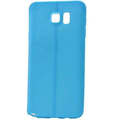 Lopard Samsung Galaxy S6 Edge Kılıf Ribbon İnce Silikon Arka Kapak Mavi