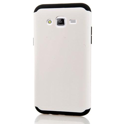 CoverZone Samsung Galaxy A7 Kılıf Çift Katmanlı Hard Case Beyaz