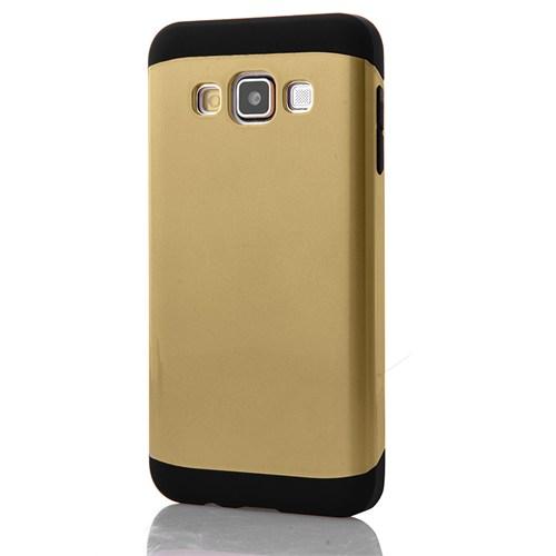 CoverZone Samsung Galaxy A7 Kılıf Çift Katmanlı Hard Case Gold