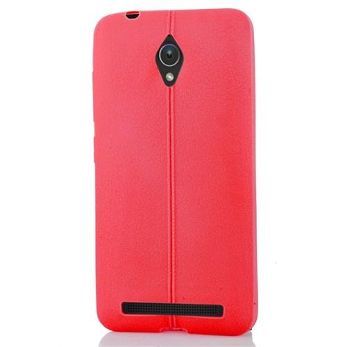 CoverZone Asus Zenfone Go Kılıf Silikon Deri Görünümlü Kırmızı