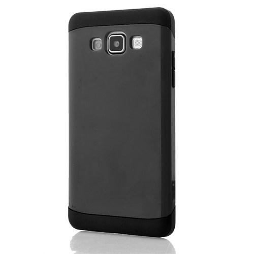 CoverZone Samsung Galaxy J5 Kılıf Çift Katmanlı Hard Case Koyu Gri