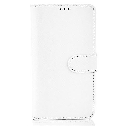 CoverZone Lg G4 Stylus Kılıf Cüzdan Deri Beyaz