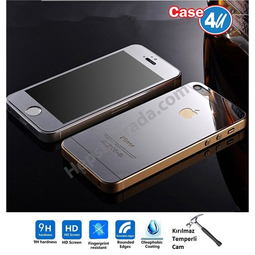 Case 4U Apple İphone 5/5S Aynalı Kırılmaz Ekran Koruyucu Gümüş