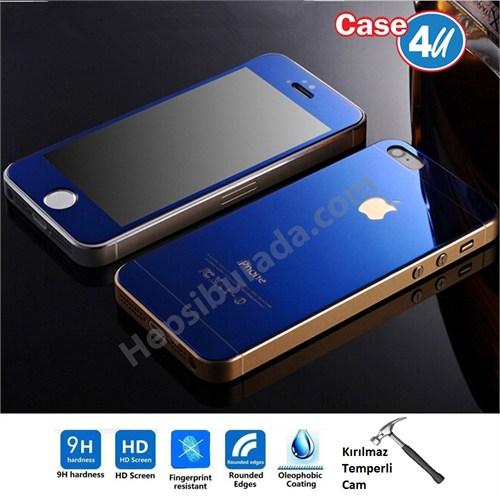 Case 4U Apple İphone 5/5S Aynalı Kırılmaz Ekran Koruyucu Mavi