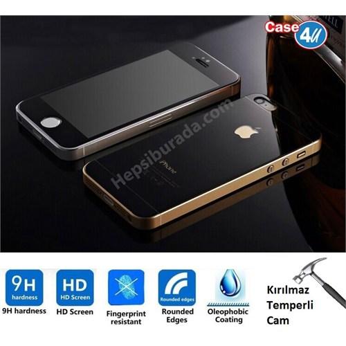 Case 4U Apple İphone 5/5S Aynalı Kırılmaz Ekran Koruyucu Siyah