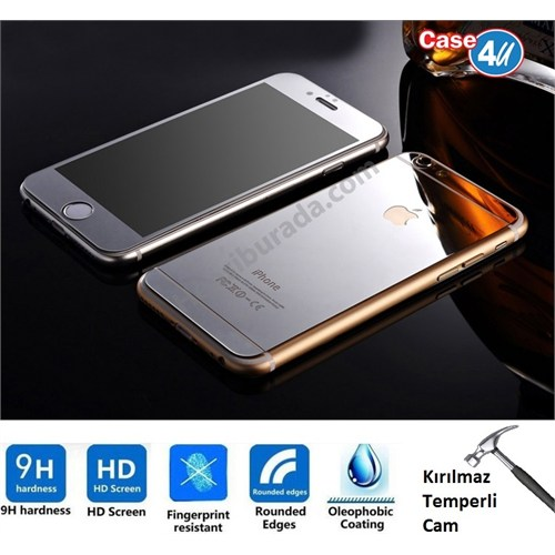 Case 4U Apple İphone 6S Aynalı Kırılmaz Ekran Koruyucu Gümüş