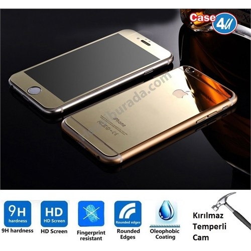 Case 4U Apple İphone 6S Plus Aynalı Kırılmaz Ekran Koruyucu Altın