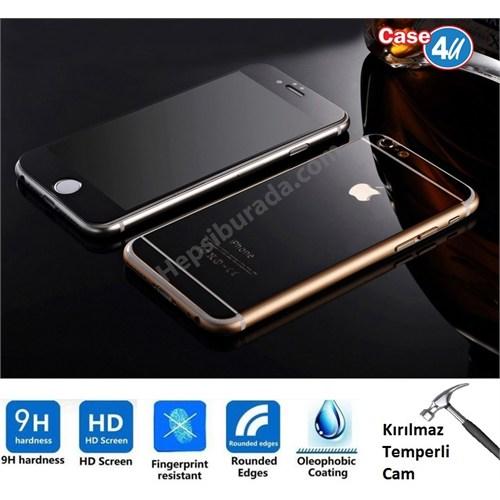 Case 4U Apple İphone 6S Plus Aynalı Kırılmaz Ekran Koruyucu Siyah