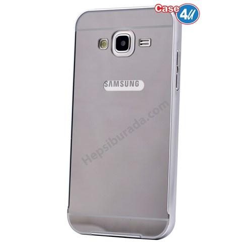 Case 4U Samsung Galaxy J7 Aynalı Bumper Kapak Gri