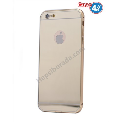 Case 4U Apple İphone 6 Aynalı Bumper Kapak Altın