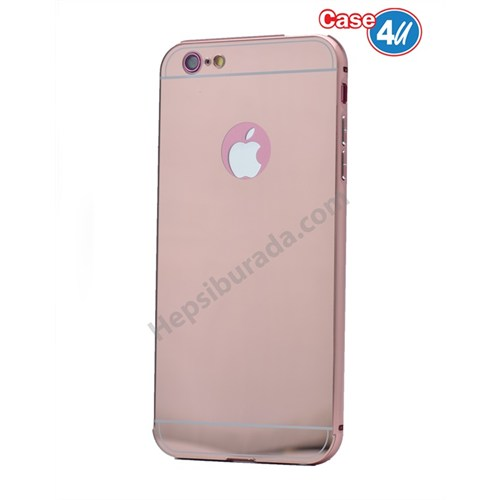 Case 4U Apple İphone 6S Aynalı Bumper Kapak Rose Gold