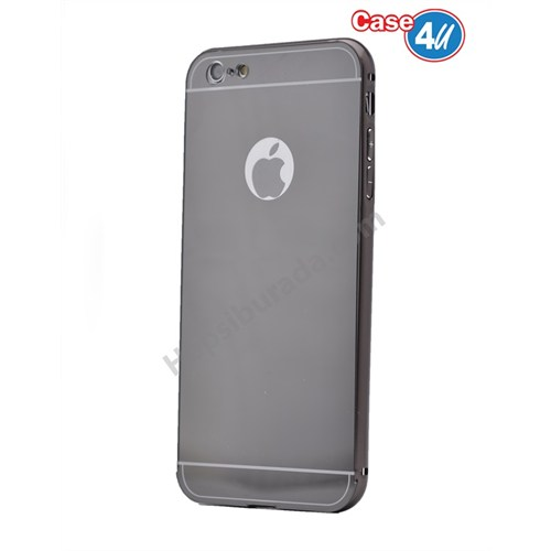 Case 4U Apple İphone 6S Aynalı Bumper Kapak Siyah