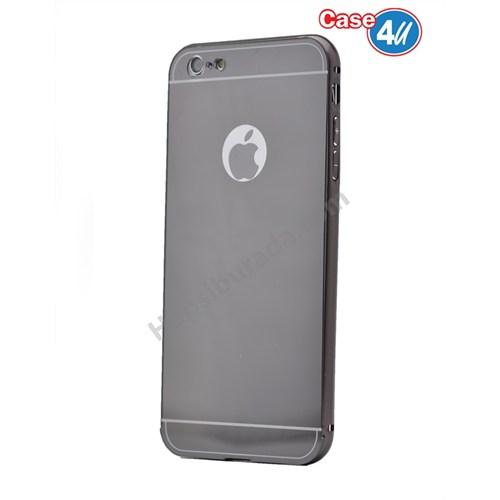 Case 4U Apple İphone 5S Aynalı Bumper Kapak Siyah