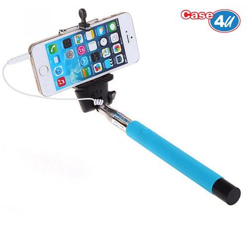Case 4u Kablolu Selfie Çubuğu Mavi