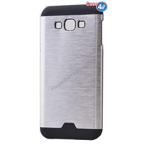 Case 4U Samsung Galaxy E7 Moto Sert Arka Kapak Gümüş