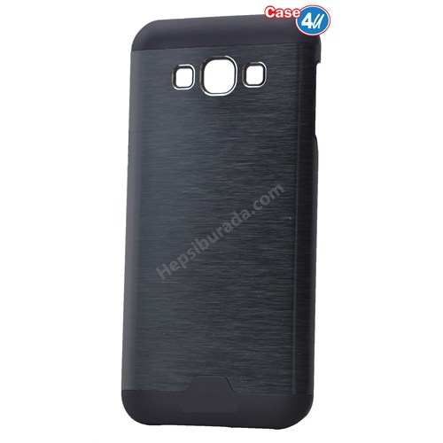 Case 4U Samsung Galaxy E7 Moto Sert Arka Kapak Siyah